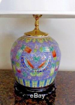 Vintage Hand Painted Chinese Porcelain Ginger Jar Lamp 26 Tall Post Wwii