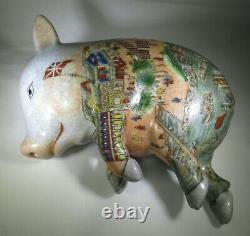 Vintage Hand Painted Porcelain Sleeping Pig Statue Japanese Chinese Figurine