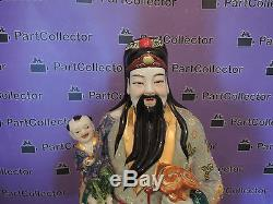 Vintage Oriental Chinese Wise Man Fuk Porcelain Figurine Statue Hand Painted
