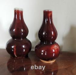 Vintage Pair Chinese Porcelain Vases Sang de Boeuf Oxblood Gourd Shape Flambe