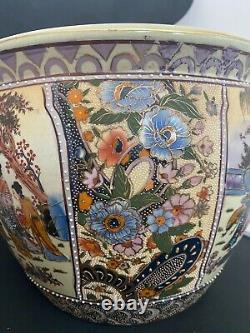 Vintage Palatial Satsuma Style Koi Fish Bowl Porcelain Planter & Rosewood Stand