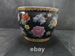 Vintage Porcelain Chinese Fish Bowl Planter Black Flower Pattern