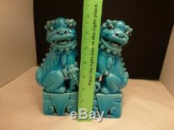 Vintage Turquoise Blue Chinese Porcelain Pair Foo Dogs Lions 8 Tall Figurines