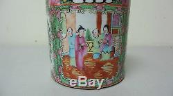 Wonderful Antique Chinese Export Rose Medallion 5 Porcelain Brush Pot / Vase